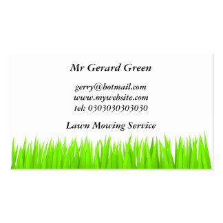 Green Grass, Lawn Mowing Service Pack Of Standard Business Cards