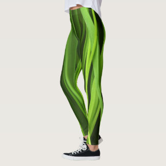 Green grass pattern leggings
