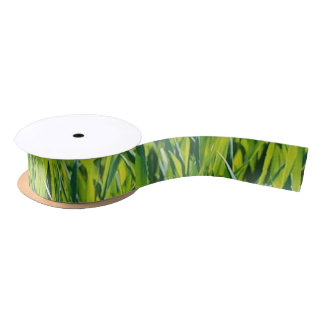green grass satin ribbon