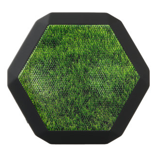 Green grass texture from a soccer field black bluetooth speaker