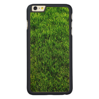 Green grass texture from a soccer field carved maple iPhone 6 plus case