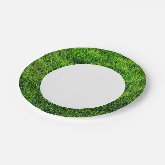 Green grass texture from a soccer field paper plate
