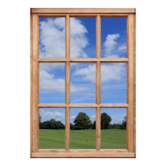 Green Grass, Trees and Blue Sky Faux Window View Poster