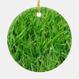 Green grass wallpaper design christmas ornament