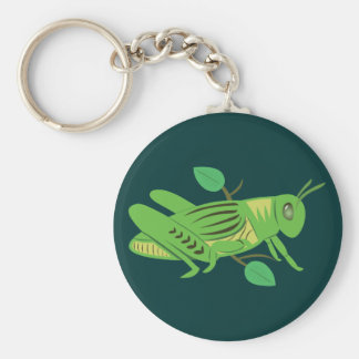 Green Grasshopper Basic Round Button Key Ring