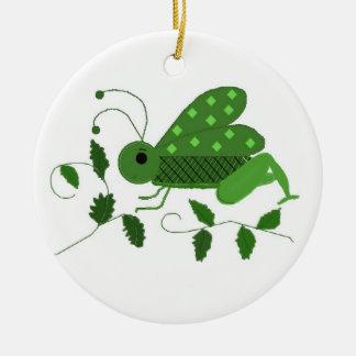 Green Grasshopper Christmas Ornament