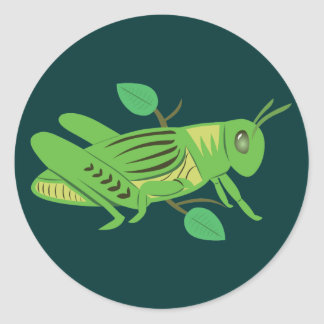Green Grasshopper Classic Round Sticker