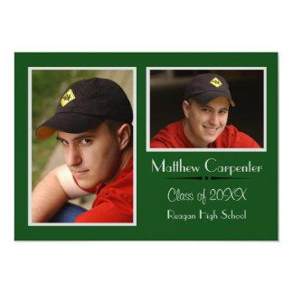 Green/Gray 2 Photo Collage - Grad Announcement
