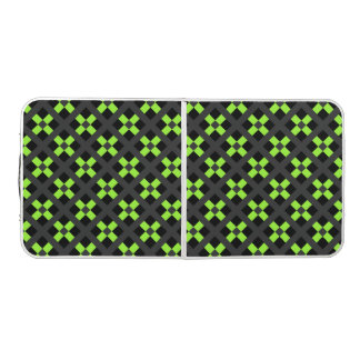 Green, Gray And Black Geometric Beer Pong Table