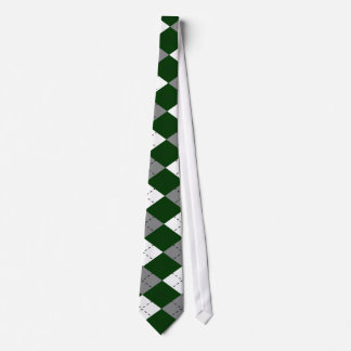 Green, Gray And White Argyle Necktie