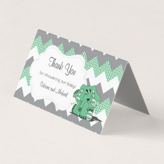 Green & Gray Chevron Elephant | Candy Toppers Business Card