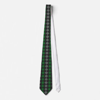 Green & Gray Knit Argyle Pattern Tie