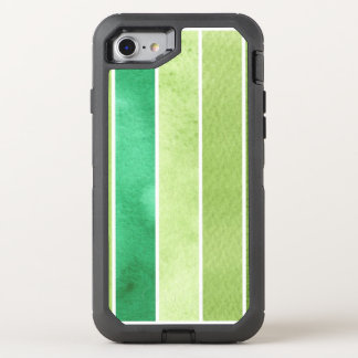 green great watercolor background - watercolor OtterBox defender iPhone 8/7 case
