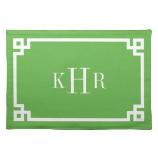 Green Greek Key Border Custom Monogram Placemat