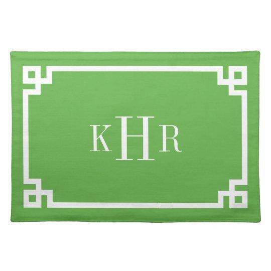Green Greek Key Border Custom Monogram Placemats