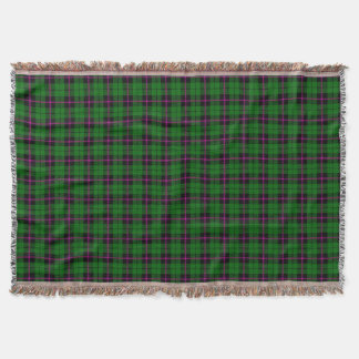 Green green plaid print, black pink stripe throw blanket
