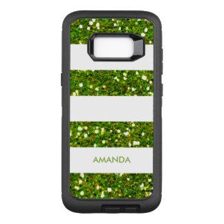GREEN GREENERY Glitter white Stripe add your name OtterBox Defender Samsung Galaxy S8+ Case