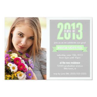 Green Grey Banner Class of 2013 Photo Graduation Card
