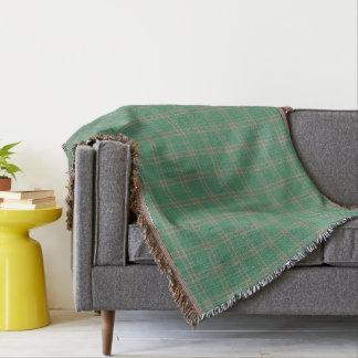 Green Grey Black Tartan Plaid Throw Blanket
