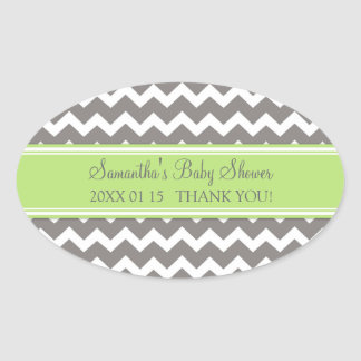 Green Grey Chevron Baby Shower Favor Stickers