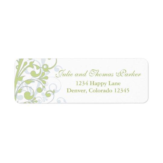 Green Grey Floral Wedding Return Address Label