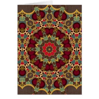 Green, Grey, Red Kaleidoscope Design Greeting Card