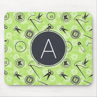 Green Grey Sewing Pattern with Monogram Mouse Mat