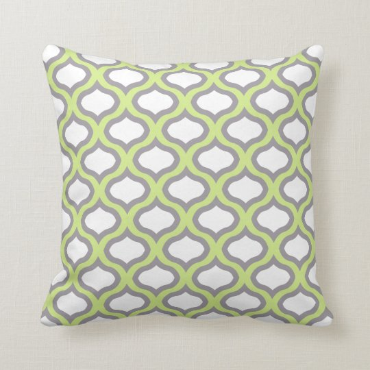 Green & Grey Tile Ogee Waves Pillow