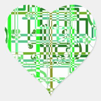 Green Grid Heart Stickers