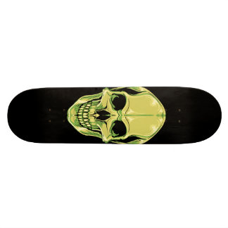 Green Grinning Skull On Black Skateboard
