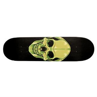 Green Grinning Skull On Black Skateboard