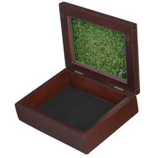 Green groundcover with yellow flowers keepsake boxes