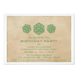 Green Grunge D20 Dice Gamer Birthday Party Invite