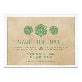 Green Grunge D20 Dice Gamer Save the Date Invite