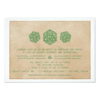 Green Grunge D20 Dice Gamer Wedding Invitation