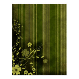 Green Grunge - Floral Design Post Cards