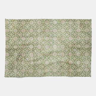 Green Grunge Flower Pattern Tea Towel