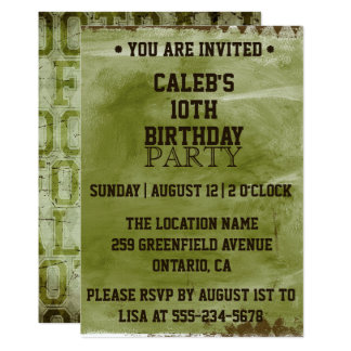 Green Grunge Football Birthday Invitation