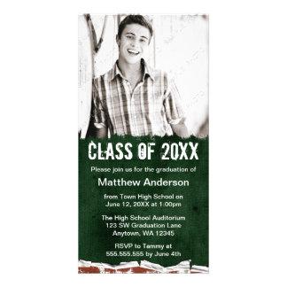 Green Grunge Graduation Announcement Photo Card Template