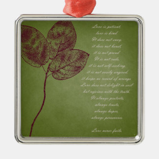 Green Grunge Leaves Christmas Ornament