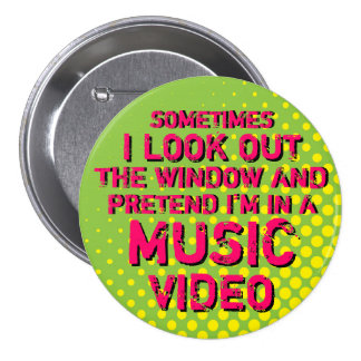 Green Grunge Retro Halftone I Love Music Button