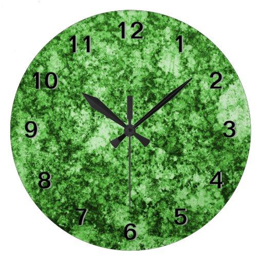 Green Grungy Abstract Design Wallclock