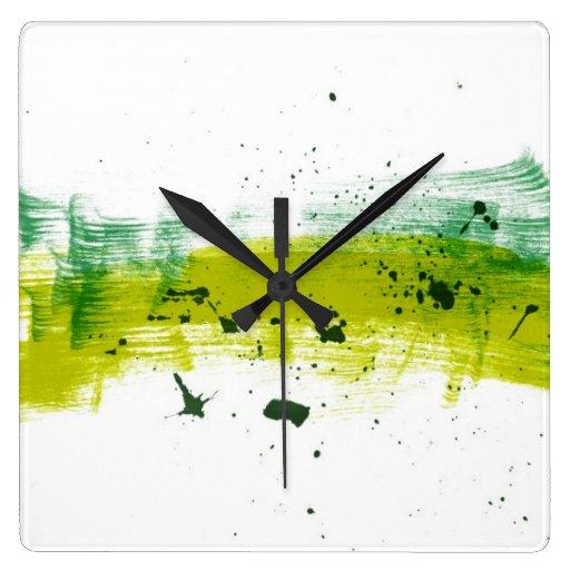 Green grungy brushstrokes square wall clocks