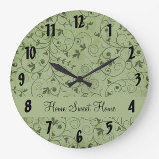 Green Grungy Floral Clock