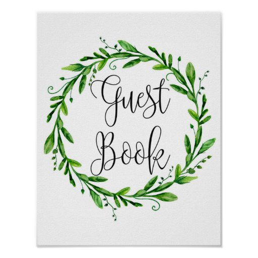 Green guest book sign poster. Summer wedding print