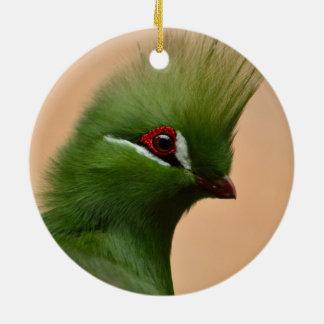 Green Guinea Turaco bird Round Ceramic Decoration