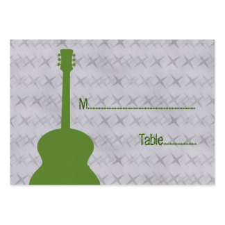 Green Guitar Grunge Place Card Business Cards