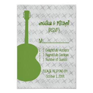 "Green Guitar Grunge Response Card 3.5"" X 5"" Invitation Card"