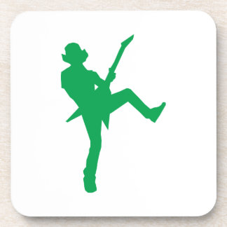 Green Guitar Player Silhouette Drink Coaster