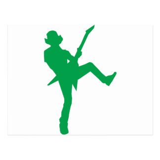 Green Guitar Player Silhouette Postcard